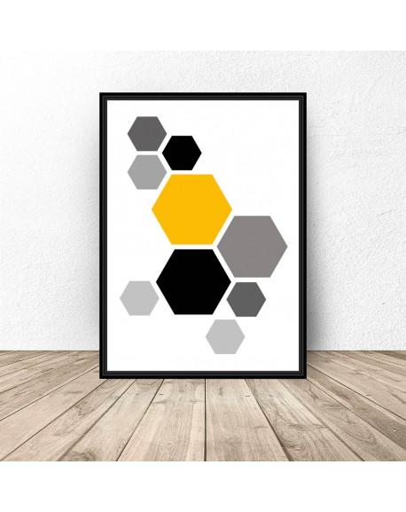 """Plakat geometryczny """"Żółte hexagony"""""""