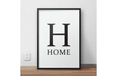 Minimalistyczny plakat typograficzny z dużą literą H i napisem HOME