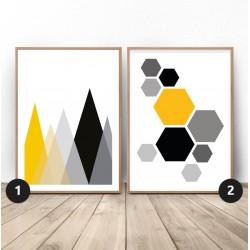 """Zestaw geometrycznych plakatów """"Góry i hexagony"""""""