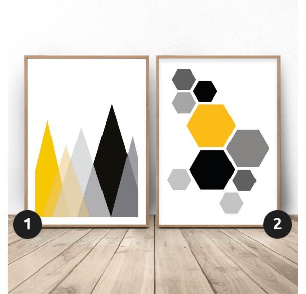 Zestaw geometrycznych plakatów Góry i hexagony