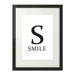 Skandynawski plakat na ścianę z napisem SMILE  i dużą literą S