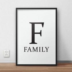 Minimalistyczny plakat typograficzny z napisem FAMILY i dużą literą F utrzymany w stylu skandynawskim do zawieszenia na ścianie
