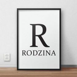 Skandynawski plakat typograficzny z napisem RODZINA i dużą literą R