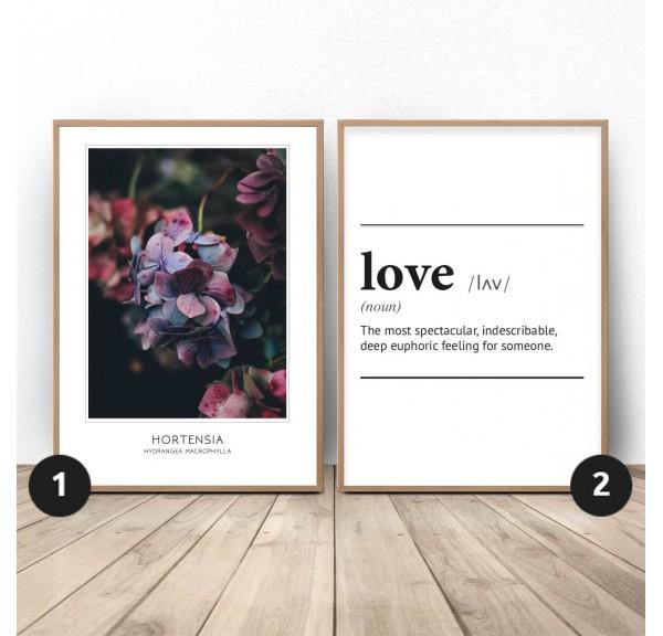 Zestaw dwóch plakatów Miłosna hortensja