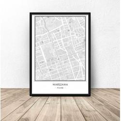 Plakat na ścianę z mapą Warszawy