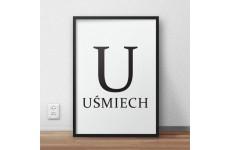 Skandynawski plakat typograficzny z napisem UŚMIECH i dużą literą U