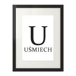 Minimalistyczny plakat z napisem UŚMIECH i dużą literą U do zawieszenia na ścianie w salonie