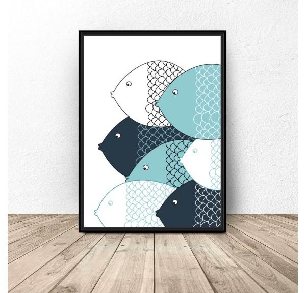 Plakat skandynawski Niebieskie rybki