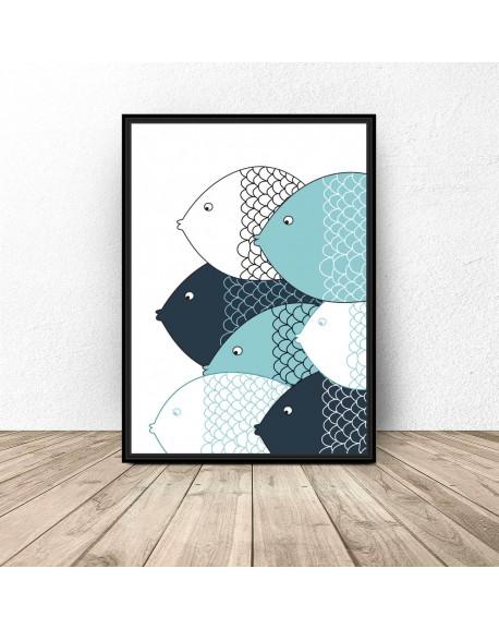 """Plakat skandynawski """"Niebieskie rybki"""""""