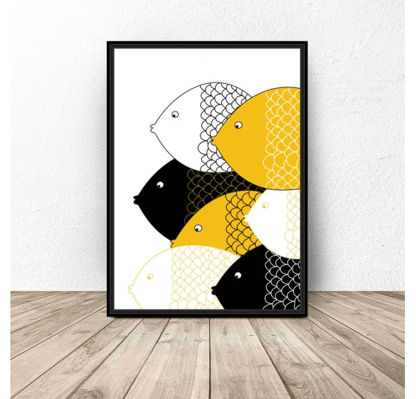 Plakat skandynawski Żółte rybki