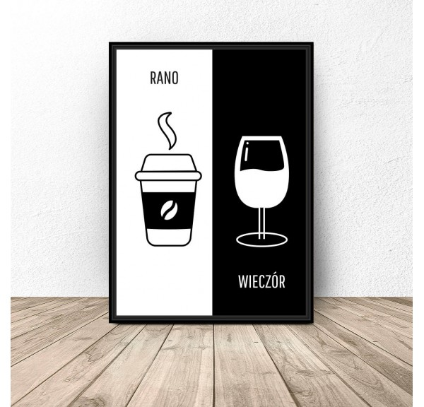 Decorative poster Coffee and wine