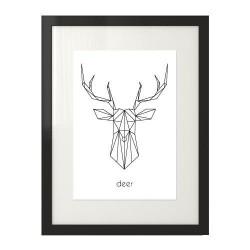 """Skandynawski plakat przedstawiający głowę jelenia i napisem """"deer"""" oprawiony w ramę z passepartout do postawienia na półce"""