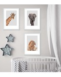 Set of 3 posters for the child's room - giraffe, elephant and bunny 2