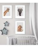 Zestaw 3 plakatów do pokoju dziecka - żyrafa, słoń i zajączek 2