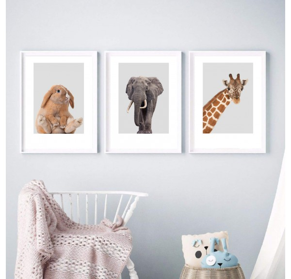 Set of 3 posters for the child's room - giraffe, elephant and bunny