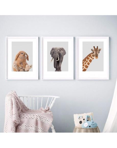 Zestaw 3 plakatów do pokoju dziecka - żyrafa, słoń i zajączek