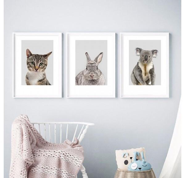 Set of 3 posters for the child's room - kitten, koala, rabbit