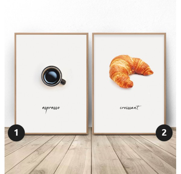 Set of two posters French breakfast