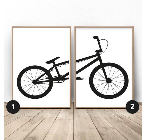Zestaw 2 plakatów z rowerem BMX