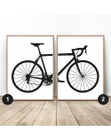 Set of 2 posters with road bike