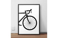 Skandynawski plakat z przodem roweru szosowego dla kolarza i rowerzysty