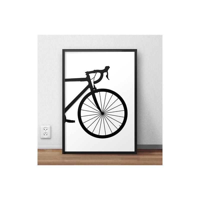 Plakat z przodem roweru szosowego