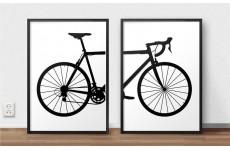 Zestaw plakatów w stylu skandynawskim z przodem i tyłem roweru szosowego do powieszenia na ścianie