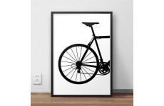 Plakat w stylu skandynawskim przedstawiającym tył roweru szosowego oprawiony w czarną ramę