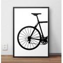Plakat w stylu skandynawskim przedstawiającym tył roweru szosowego oprawiony w czarną ramę 1