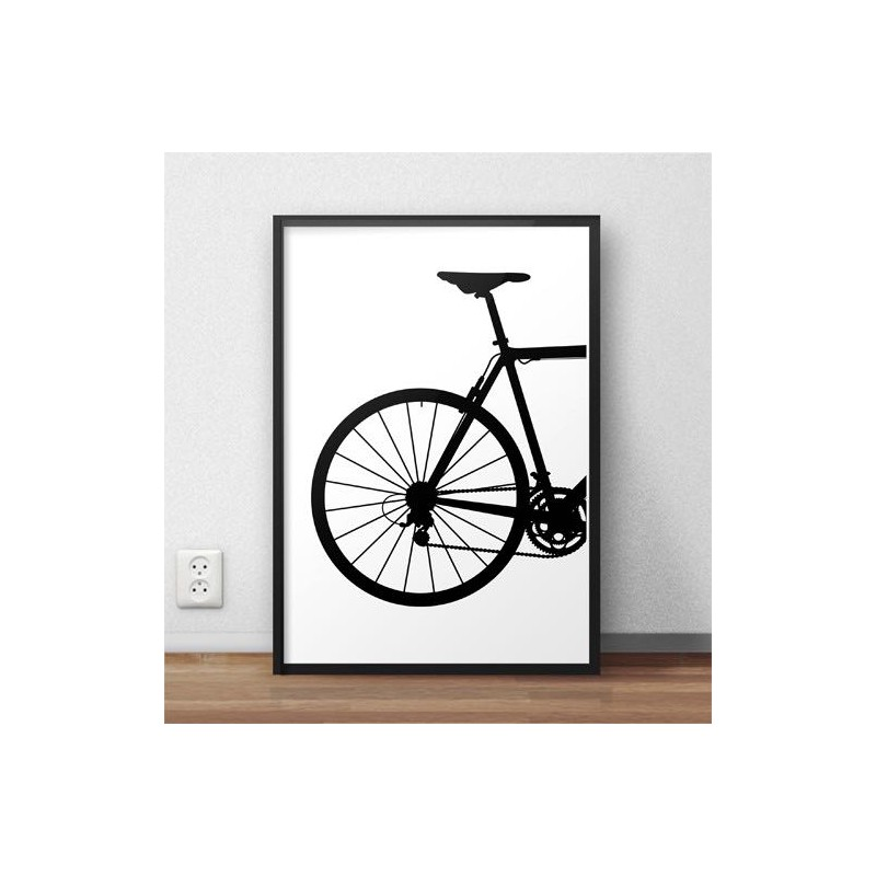 Poster with the back of the road bike