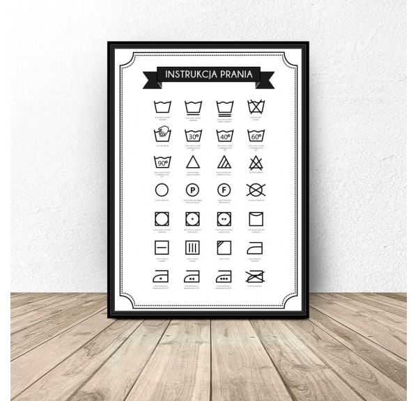 Poster for laundry - bathrooms Washing instructions