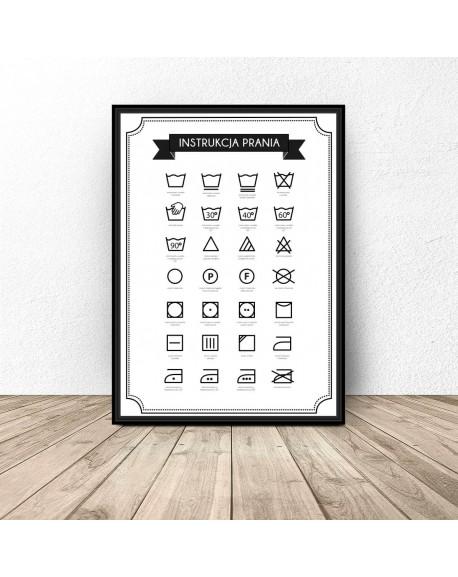 Plakat Do Pralni łazienki Instrukcja Prania