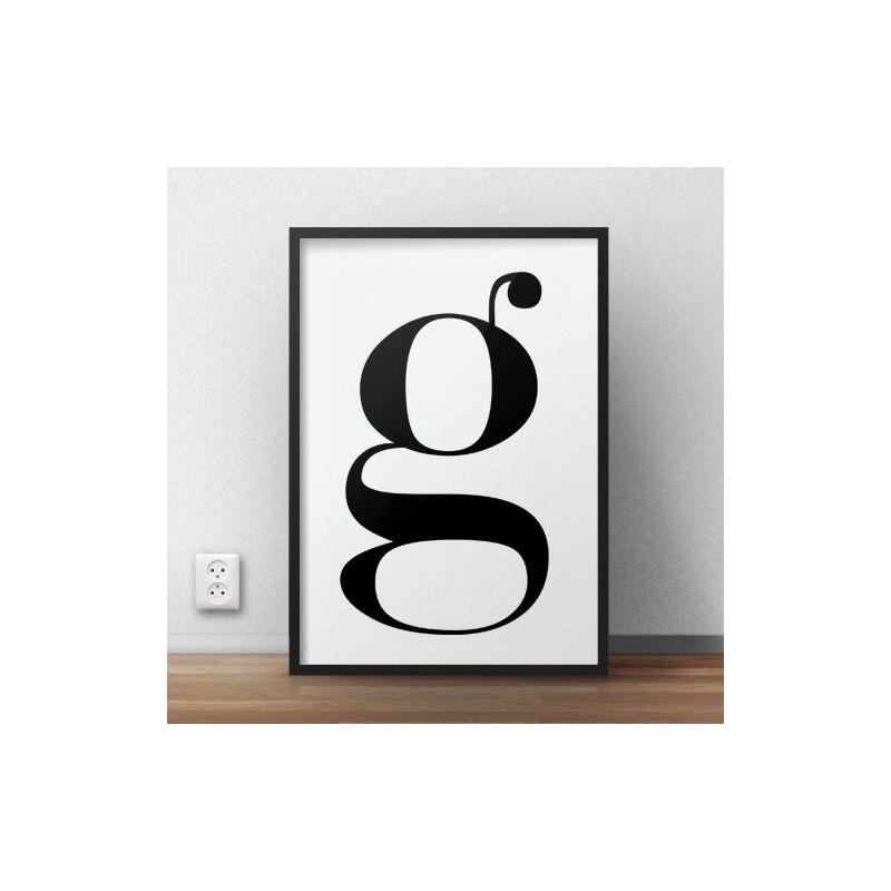 """Typograficzny plakat z małą literką """"g"""" do powieszenia na ścianie w salonie i sypialni"""