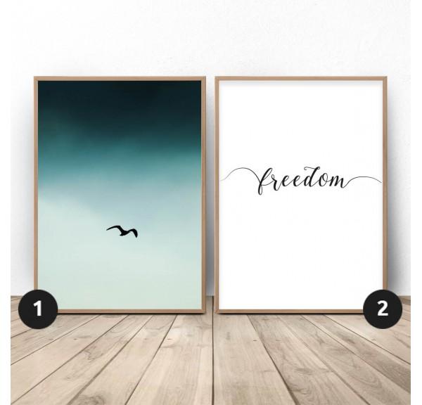 Zestaw dwóch plakatów Wolny ptak