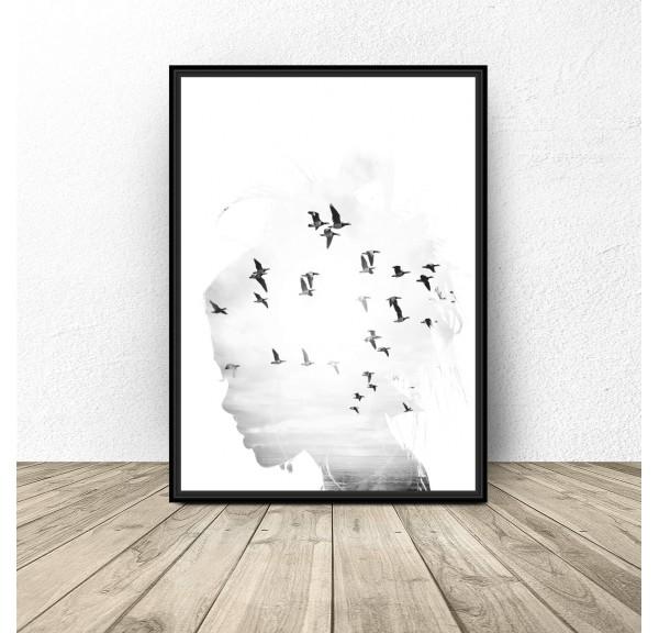 Plakat na ścianę Dziewczyna z ptakami