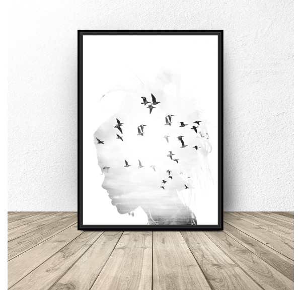 Poster for the wall Girl with birds