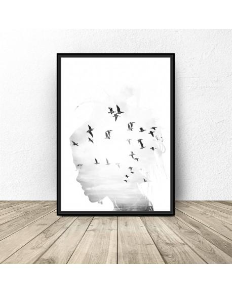 """Plakat na ścianę """"Dziewczyna z ptakami"""""""