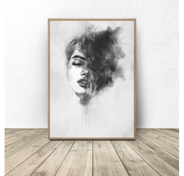 Czarno-biały plakat Kobieta w akwarelach