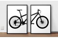 Zestaw dwóch plakatów z fragmentami roweru górskiego MTB do powieszenia obok siebie na ścianie