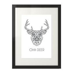Skandynawski plakat z jeleniem i napisem Ohh deer do powieszenia na ścianie salonu lub sypialni