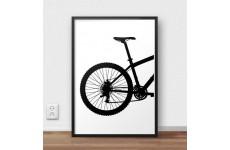 Skandynawski plakat z tyłem roweru górskiego MTB do powieszenia na ścianie pokoju zapalonego kolarza górskiego