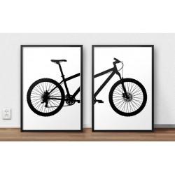 Zestaw plakatów przedstawiający razem rower górski MTB do oprawienia w ramy i powieszenia obok siebie na ścianie