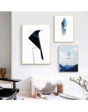 Decorative poster Blue feather 3