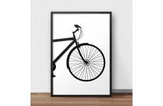 Skandynawski plakat przedstawiający przód roweru miejskiego do oprawienia w ramy i powieszenia na ścianie