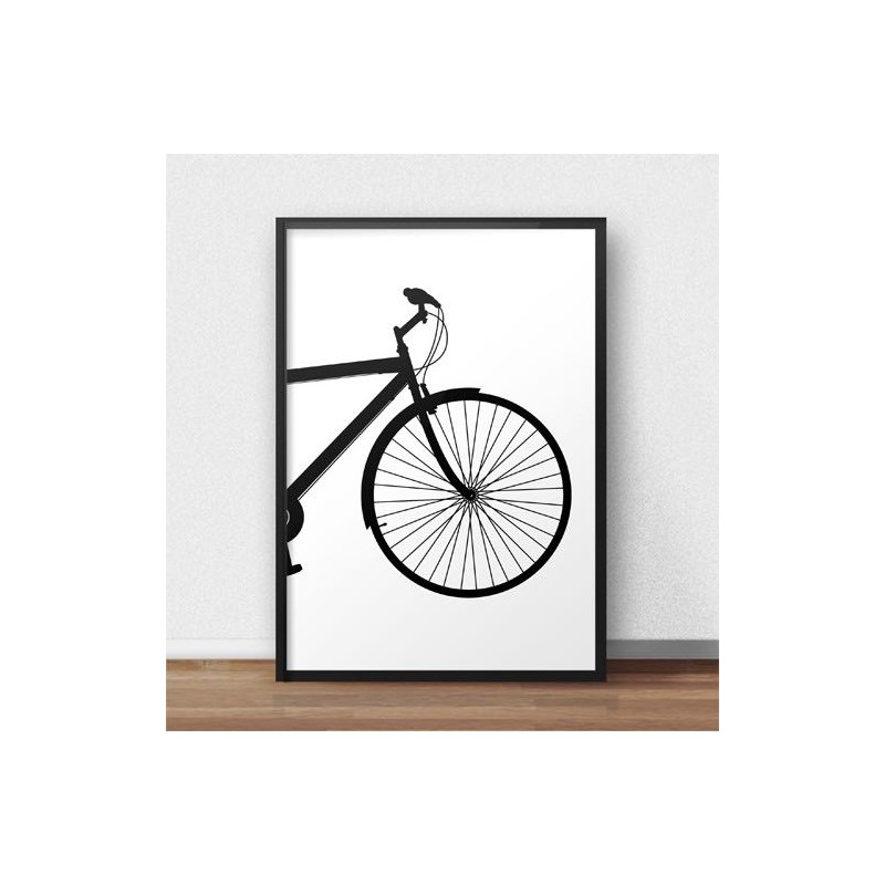 Poster with the front of the city bike