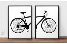 Zestaw dwóch plakatów na ścianę przedstawiających rower miejski