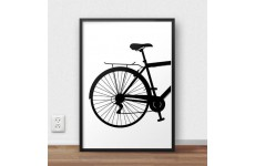 Skandynawski plakat przedstawiający tył roweru miejskiego do oprawienia w ramy i powieszenia na ścianie