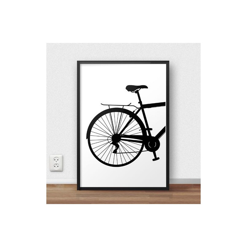 Poster with the back of a city bike