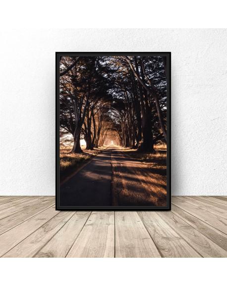 """Plakat """"Droga o zachodzie słońca"""""""