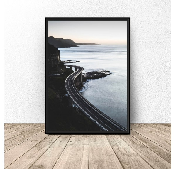 Poster Road over the coast